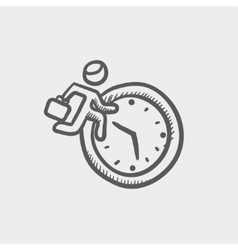 Man running in time sketch icon vector