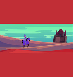 Medieval castle and knight on horse cartoon vector