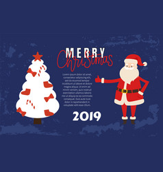 merry christmas poster with happy santa claus vector image