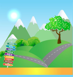 mountains trip background vector image