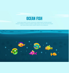 Ocean fish banner template with cute colorful vector