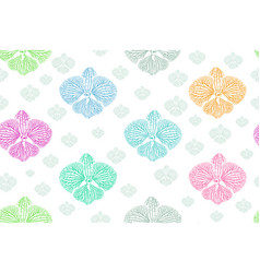 orchid doodle seamless background on art vector image