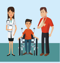 patient with medical team vector image