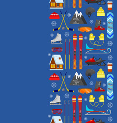 Pattern with winter equipment vector