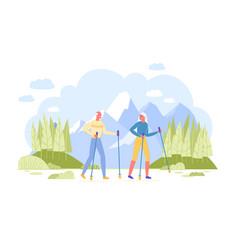 pensioners scandinavian walking at mountains vector image