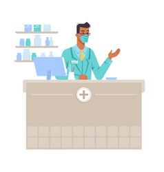 Pharmacist workplace man with mask counter vector