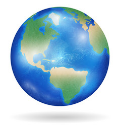 planet earth with blue ocean and clouds isolated vector image