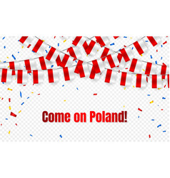 poland garland flag with confetti on transparent vector image