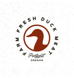 Premium fresh duck meat label retro styled meat vector
