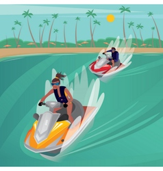 Race on water scooters vector