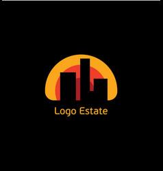 Real estate logo sun city house abstract vector
