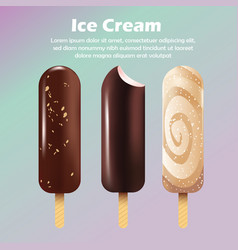 Realistic ice cream promotion banner vector