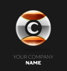 Realistic silver letter c logo in the circle shape vector