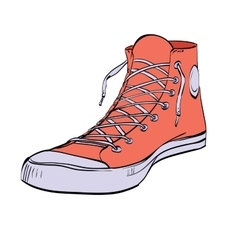 Red sneakers youth shoes vector