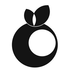 Round apple with leaves icon simple style vector
