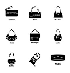 Satchel icons set simple style vector
