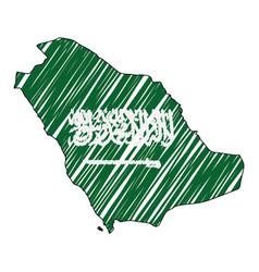 Saudi arabia map hand drawn sketch concept vector