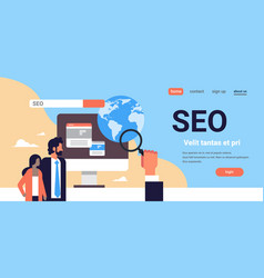 seo search engine optimization couple monitoring vector image