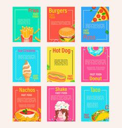 set fast food shop flyersbanners vector image