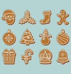 set gingerbread christmas cookies vector image