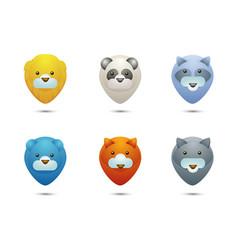 Set icons wild life animals stylized portraits vector