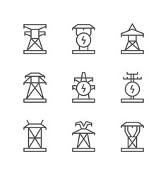 set line icons of electrical pylon vector image
