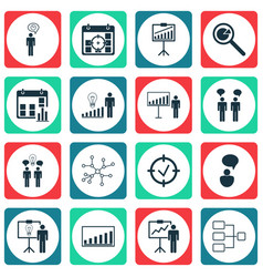 Set of 16 executive icons includes co-working vector
