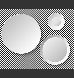 set of empty white plates dish wall template for vector image