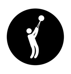 silhouette of athlete practicing bullet throw vector image