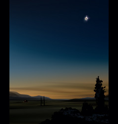 Solar eclipse at sunset vector