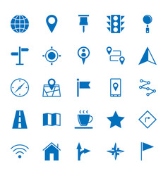 Solid icons map icons on white background vector