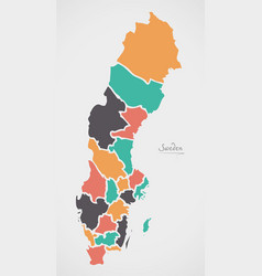 Sweden map with states and modern round shapes vector