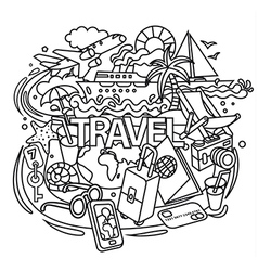 travel doodles vector image