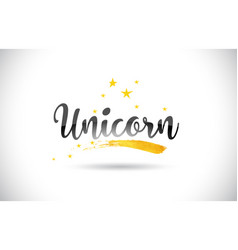 Unicorn word text with golden stars trail and vector