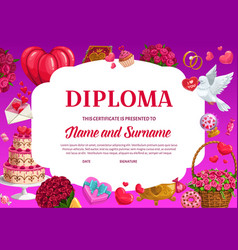 valentines day education diploma template vector image
