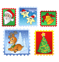 various christmas post stamps 1 vector image