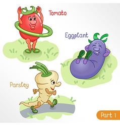 Vegetables engage in sports part 1 vector