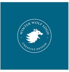 vintage silhouette wolf badge emblem for winter vector image