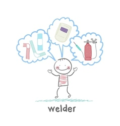 Welder thinks about welder helmet and pipe vector
