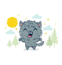 Werewolf in kawaii style vector