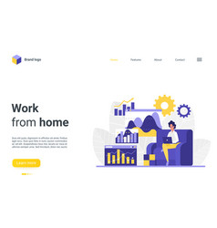 Working from home landing page busy freelance vector