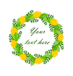 wreath of lemon lime and leaves vector image