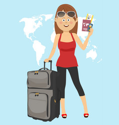 young woman tourist stands with suitcase vector image