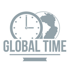 global time logo simple gray style vector image vector image