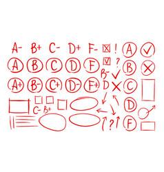 hand drawn grade results check marks set of icons vector image