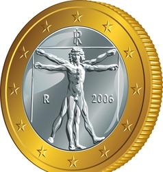Italian money gold coin euro vector image vector image