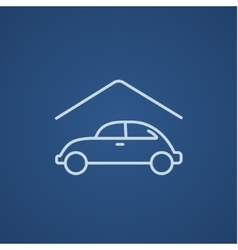 Car garage line icon vector image vector image