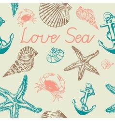 Decorative sea pattern vector image vector image