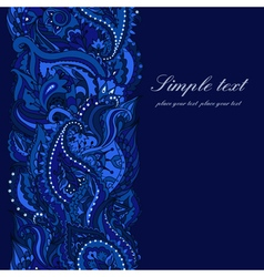 elegant card with Indian paisley pattern vector image vector image