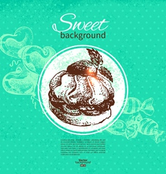 Hand drawn vintage sweet background vector image vector image